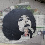 Angela Davis, pochoir sur collage, Paris 10e 16/06/2013
