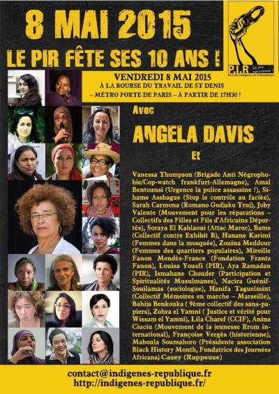Affiche 10 ans PIR avec Angela Davis 8 mai 2015 Saint-Denis
